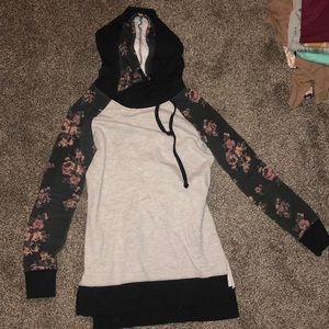 Black/gray floral double hoodie